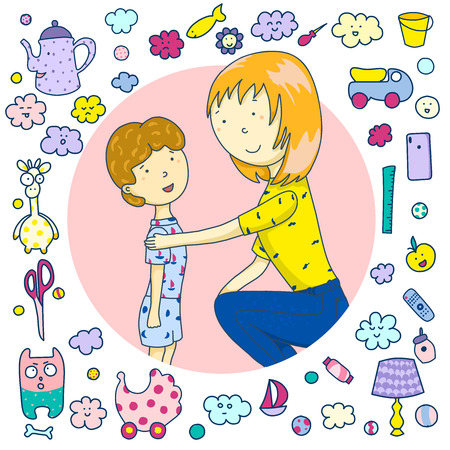 Mom is talking to her son. Icons toys, household items, emoji. Concept of parent support. Vector illustration