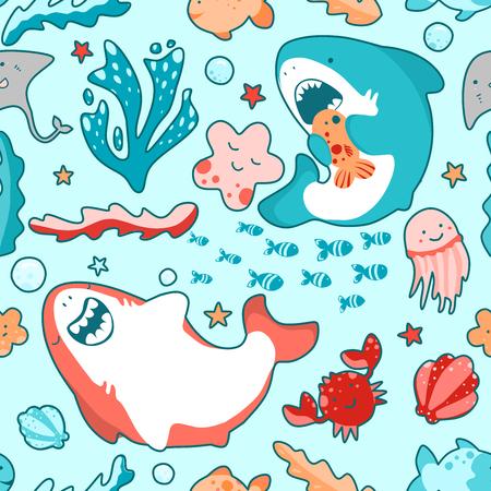 Underwater world of the ocean, Japanese style childish pattern, cute illustration 일러스트
