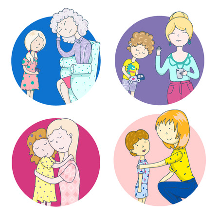 These different moms. Psychology of parenting. Scenes from family life, relationship with mother, childrens problems, love and misunderstanding 일러스트