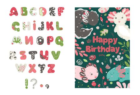 Cute kawaii dragon. Forest summer alphabet. Cute set of plant elements, stones, berries, flowers. Flat style design. Ambystoma mexicanum