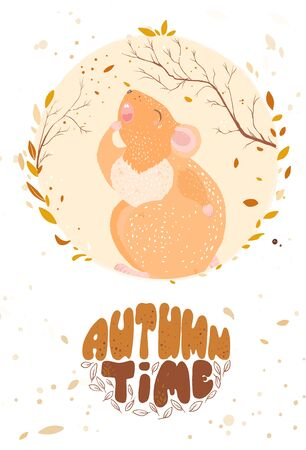 Autumn has come. Autumn time. Lettering. The rat is yawning and wants to sleep. Stock Illustratie