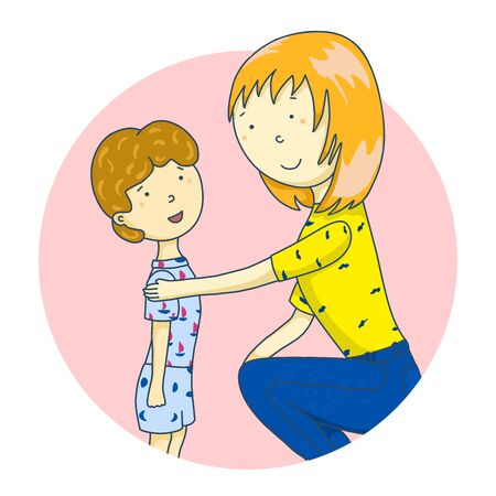 Mom is talking to her son. Icons toys, household items, emoji Concept of parent support. illustration