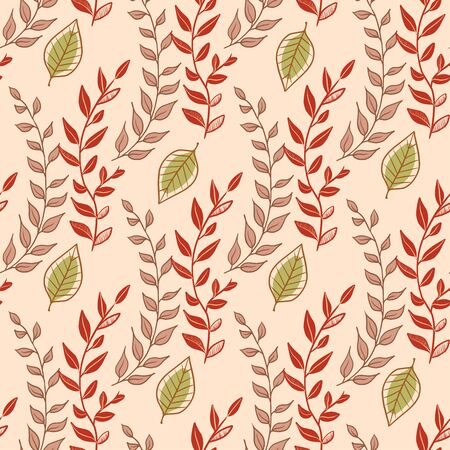 Seamless floral pattern with little bright green blades of grass. Floral texture on white background. Cartoon style sprigs with oval leaflets. For printing on fabric or paper. Vector illustration. Stock Photo