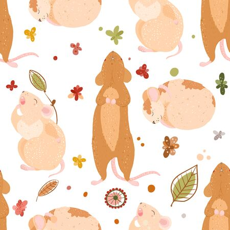 cute mouse pattern vector illustration