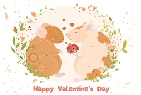 Rats in love Postcard with Valentines Day. date. bouquet of flowers.