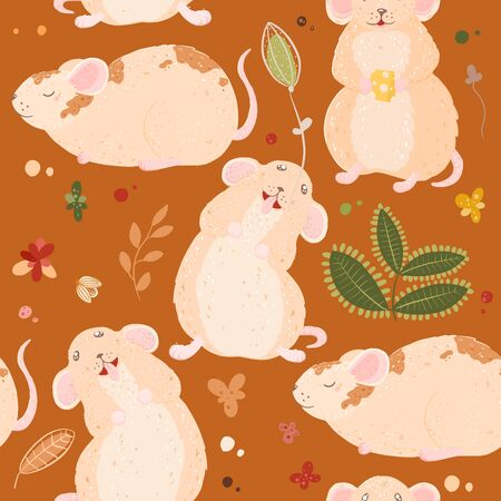 Seamless pattern with cute mouses in scandinavian style. Creative vector childish background for fabric, textile Stock Illustratie