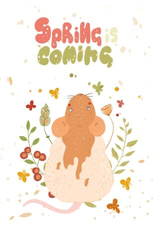 Cute rat. lettering spring is coming. Happy New Year and Merry Christmas. Illustration