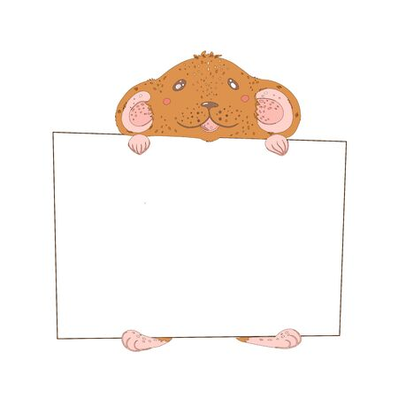 Cute rat with a block for text. Happy New Year and Merry Christmas. Stockfoto - 128616228