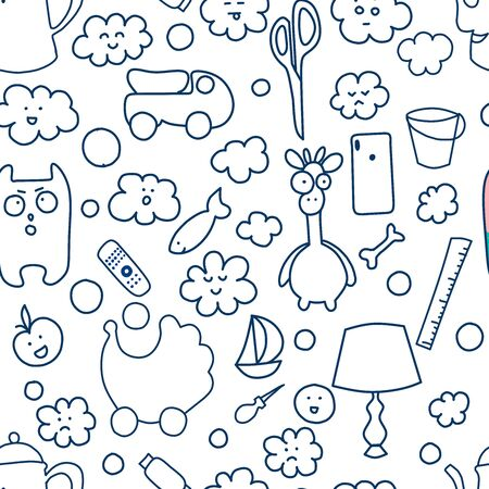 Seamless pattern, household items toys, cactus, dishes. Kavayny faces, emotions, expressions