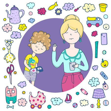 A mean mother. A frame of cute icons, items, toys, utensils. Mom who does not give love Stockfoto