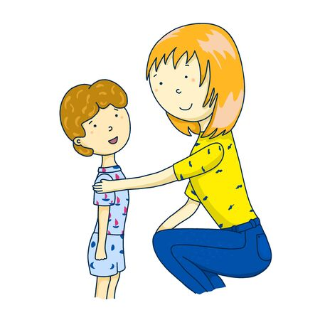 Mom is talking to her son. Concept of parent support. illustration