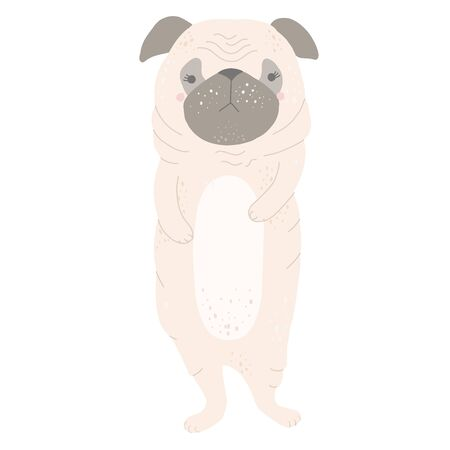 Cute little pug standing on its hind legs. Flat illustration Stock Illustratie