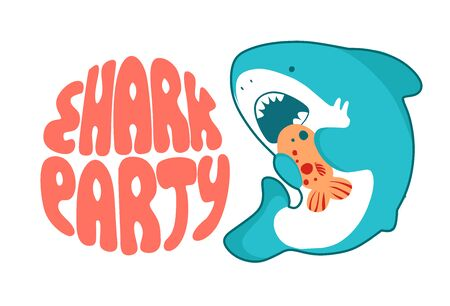 Shark cartoon seafish, cute eating fish, funny illustration in kawaii style and lettering Baby Shark