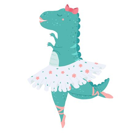 Dinosaur baby girl, cute print. Sweet dino ballerina with ballet tutu, pointe shoes, hearts. Cool animal illustration for nursery t-shirt, kids apparel, birthday card, invitation. Simple child design