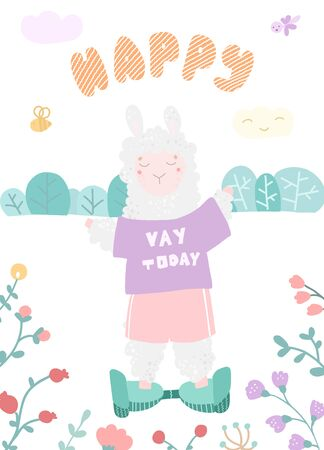 Card with cute alpacas on the toys, lettering happy Stock Illustratie
