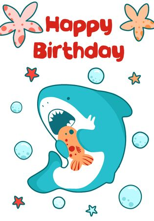 Sea card for children birthday. Cute baby illustration of a shark eats fish