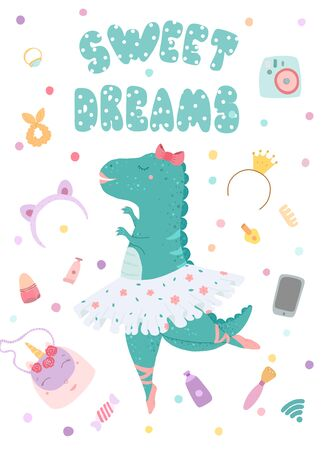 Greeting card, poster with a dinosaur ballerina and lettering inscription sweet dreams. illustration in flat style. Stockfoto