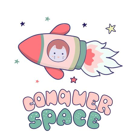Japanese kawaii cat travels in space and the inscription lettering Conquer Space. funny animals clip art. Stockfoto