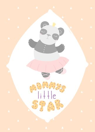 Cute childrens card panda ballerina lettering Mammys little star, flat style Stock Illustratie