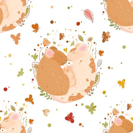 Seamless pattern. A cute family of rats, dad, mom and mouse. Sleep ball.