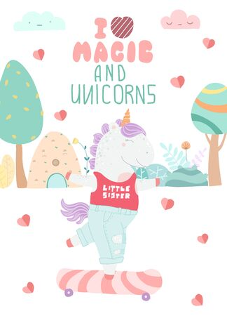 Greeting card with unicorn and lettering I like magic and unicorns