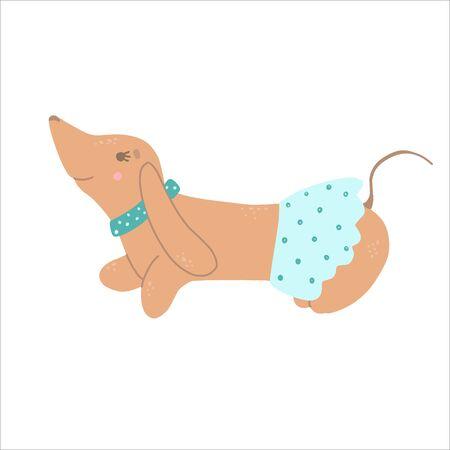 Purebred Brown Dachshund Dog Wearing Skirt Dancing, Funny Playful Pet Animal Cartoon Character Vector Illustration