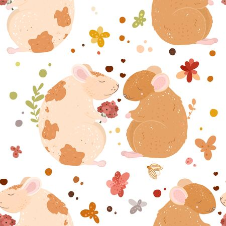Lovely rats in love seamless pattern. date. bouquet of flowers.