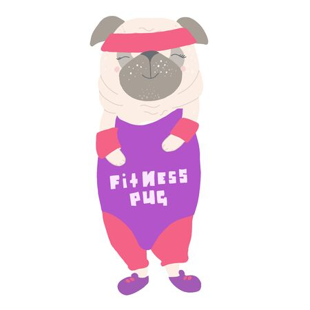 Cute dog pug, in a tracksuit, in the style of the 80s, 90s, with the inscription on the shirt Fitness Pug