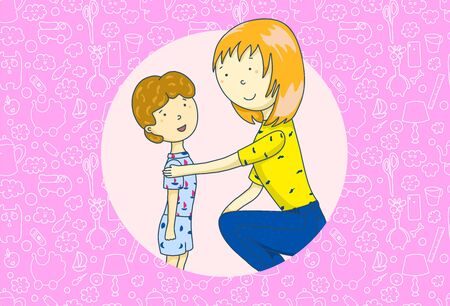 Mom is talking to her son. mothers Day. Concept of parent support. illustration 版權商用圖片 - 130553182