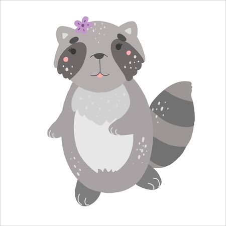 Little cute raccoon, kawaii vector illustration, flat style