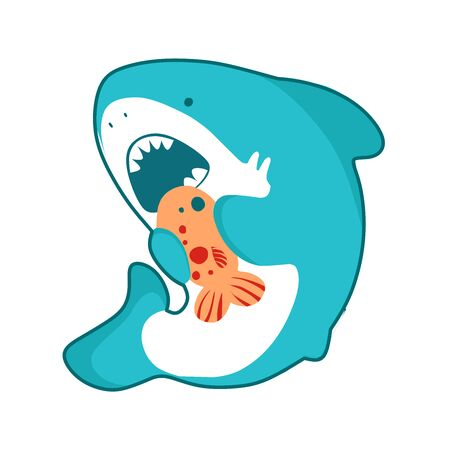 Shark cartoon seafish, cute eating fish, funny illustration in kawaii style