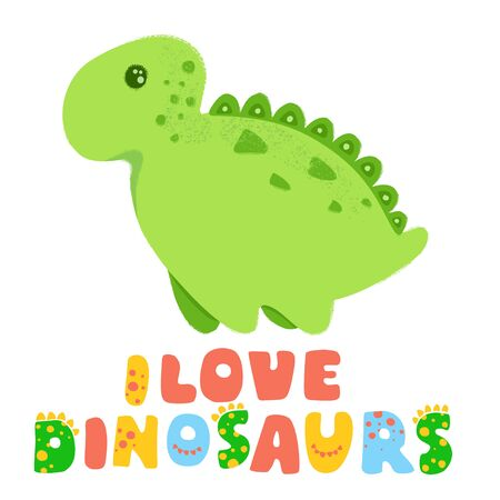 Green cute dinosaur kawaii cartoon illustration and Lettering I love dinosaurs isolated on white Stockfoto