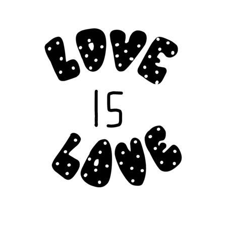 Love is love. Hand drawn lettering. Vector illustration. Perfect logo for Wedding or Valentine day design
