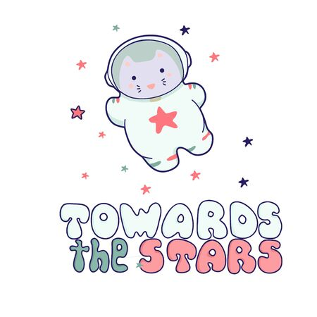 Cute kawaii cat travels in space and the inscription lettering Towards the Stars. funny animals clip art.