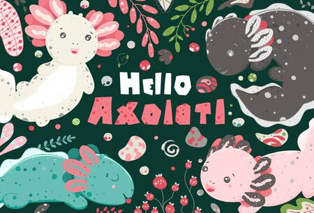 Cute summer Kawaii axolotl, baby amphibian drawing. Poster with funny lizards. Flat style design. Ambystoma mexicanum