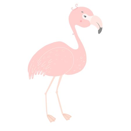 Cute pink flamingo. Flat style illustration