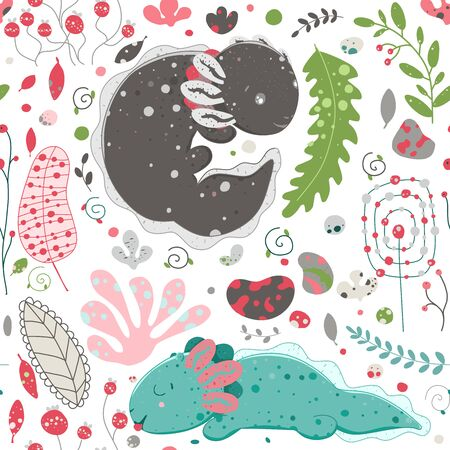 Cute Kawaii axolotl, baby amphibian drawing. Cute animal drawing, funny cartoon illustration. Floral seamless pattern with elements of flora, leaves, twigs, berries, stones