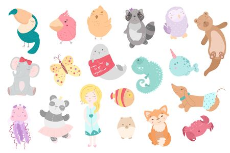 Cute funny kawaii animals. Flat style illustration