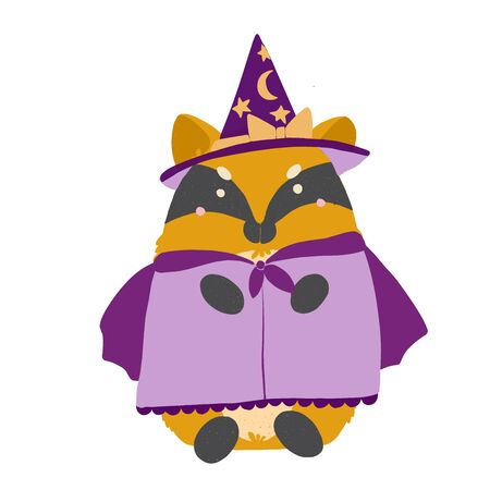 Happy Halloween Kawaii chanterelle fox witch in a suit, flat illustration.