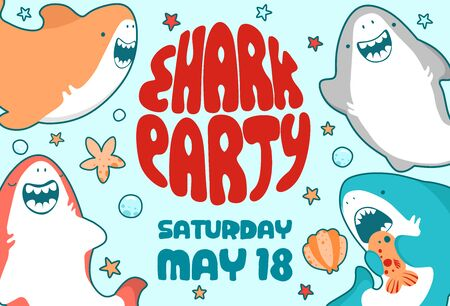 Invitation childrens holiday. Cute shark, sea fish, baby illustration