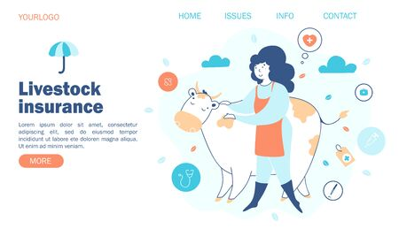livestock insurance. Concept farmer and cow, insurance against different cases, vector illustration, website template. Çizim