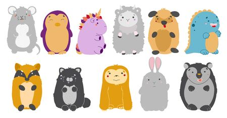 Kawaii animals set. Vector illustration of cute animals. Mouse, penguin, unicorn, sheep, dog, dinosaur, fox cat sloth hare bear Ilustração