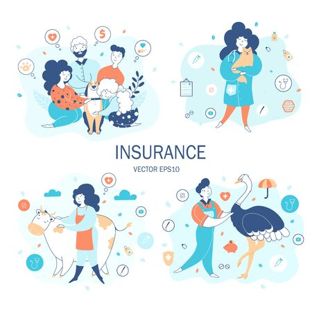 Animals life insurance flat vector illustrations set Illustration