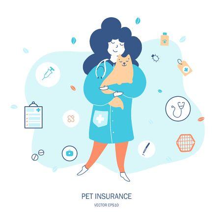 Cat life insurance hand drawn flat vector illustration