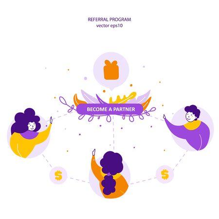 Referral program, becoming partners flat vector illustration