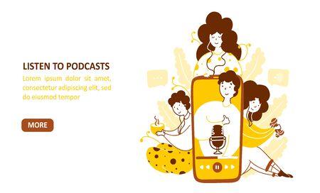Modello di pagina di destinazione vettoriale piatto della libreria di podcast. Famiglia che guarda i personaggi dei cartoni animati online di tutorial video. Audiolibri, video registrati, design della homepage promozionale del canale con spazio di testo