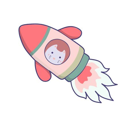 Japanese cat travels in space. funny animals clip art.