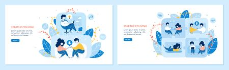 Startup coliving vector landing page templates set. Apartment sharing, co housing homepages design with cartoon characters. Residential communities, common accommodations web banners concept  イラスト・ベクター素材