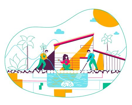 Group of people cleaning pool flat vector illustration. Home service workers cartoon characters wearing uniform with cleaning tools, nets and equipment. Pool maintenance and repair Illustration
