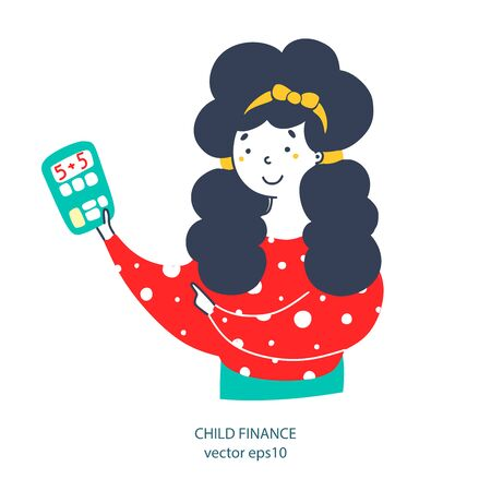 Child finance, online shopping flat vector illustration